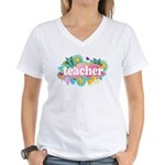 Cute Retro Teacher Women's V-Neck T-Shirt