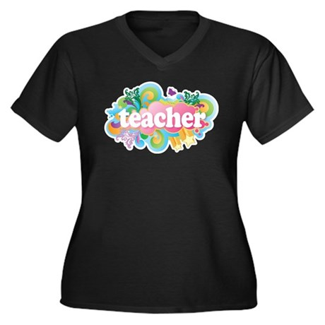 Cute Retro Teacher Women's Plus Size V-Neck Dark T