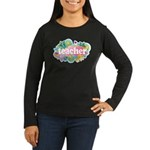 Cute Retro Teacher Women's Long Sleeve Dark T-Shir