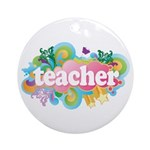 Cute Retro Teacher Ornament (Round)