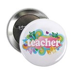 "Cute Retro Teacher 2.25"" Button"