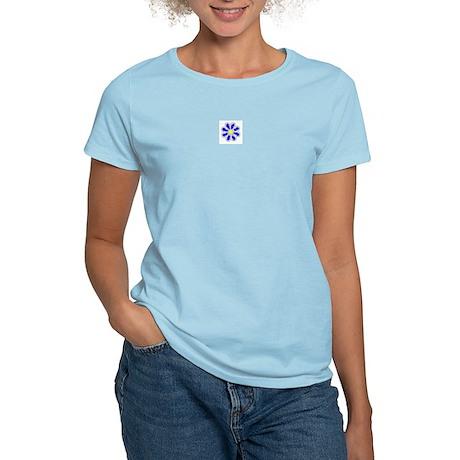 Dark Blue Flower Women's Pink T-Shirt