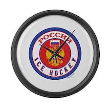 RU Russia/Rossiya Hockey Large Wall Clock