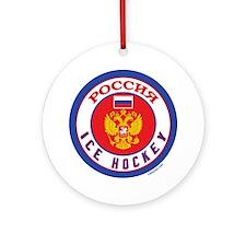 RU Russia/Rossiya Hockey Ornament (Round)