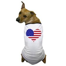 USA Heart Flag Dog T-Shirt