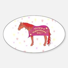 Happy Valentine Horse Oval Decal
