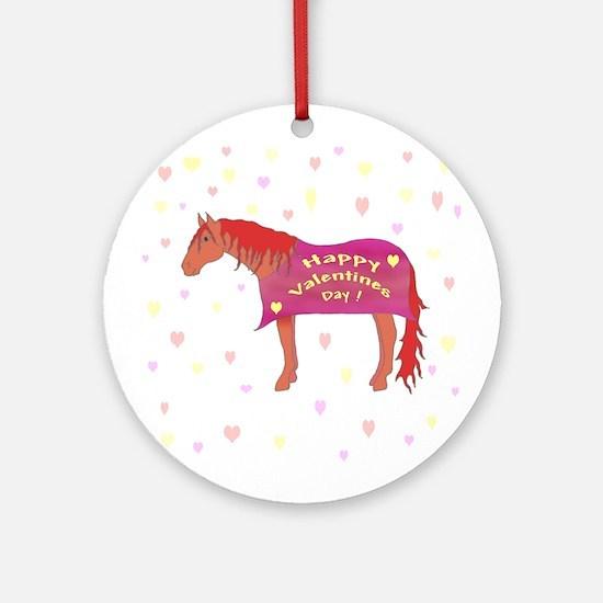 Happy Valentine Horse Ornament (Round)