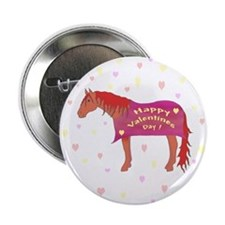 Happy Valentine Horse Button