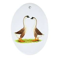 Chinese Goose Brown Oval Ornament