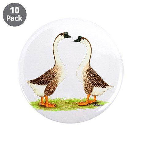 "Chinese Goose Brown 3.5"" Button (10 pack)"