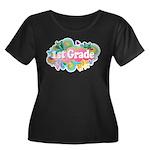 1st Grade Retro Women's Plus Size Scoop Neck Dark