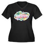 2nd Grade Retro Women's Plus Size V-Neck Dark T-Sh