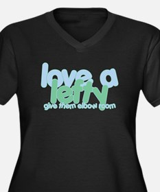 Love a Lefty Women's Plus Size V-Neck Dark T-Shirt