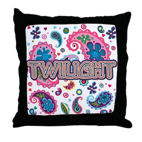 Twilight Retro Paisley Throw Pillow