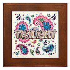 Twilight Retro Paisley Framed Tile