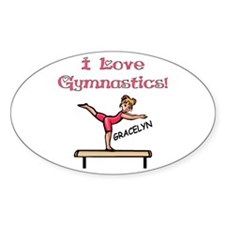 I Love Gymnastics (Gracelyn) Oval Decal