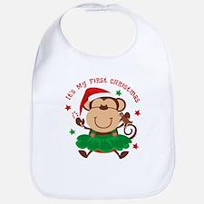 Monkey Girl 1st Christmas Bib
