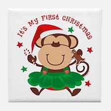Monkey Girl 1st Christmas Tile Coaster