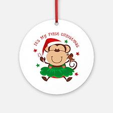 Monkey Girl 1st Christmas Ornament (Round)