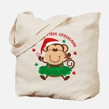 Monkey Girl 1st Christmas Tote Bag