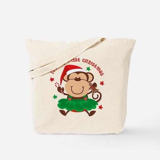 Monkey Girl 1st Christmas Tote Bag