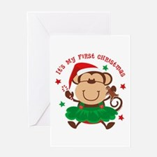 Monkey Girl 1st Christmas Greeting Card