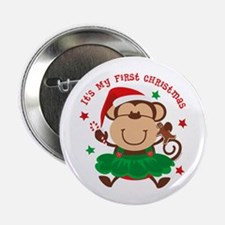 "Monkey Girl 1st Christmas 2.25"" Button"