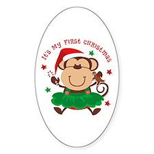 Monkey Girl 1st Christmas Oval Decal