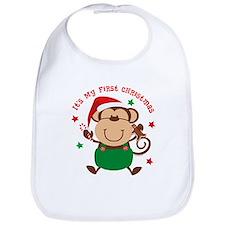 Monkey Boy 1st Christmas Bib