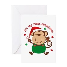 Monkey Boy 1st Christmas Greeting Card