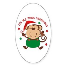 Monkey Boy 1st Christmas Oval Decal