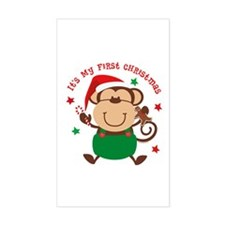 Monkey Boy 1st Christmas Rectangle Decal
