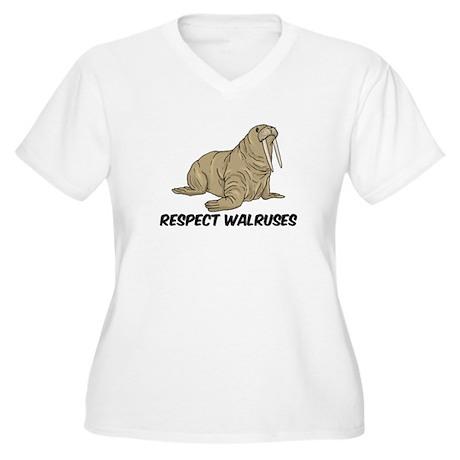 Respect Walruses Women's Plus Size V-Neck T-Shirt