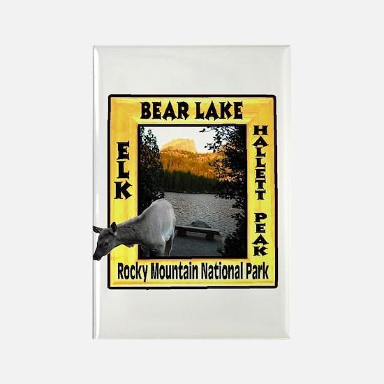 Bear Lake and Baby Elk Rectangle Magnet