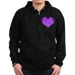 Purple Heart Zip Hoodie (dark)