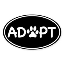 Adopt Black Oval Oval Bumper Stickers