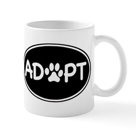 Adopt Black Oval Mug