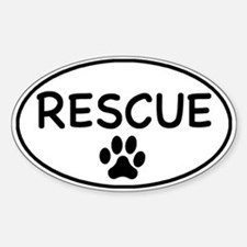 Rescue White Oval Oval Decal