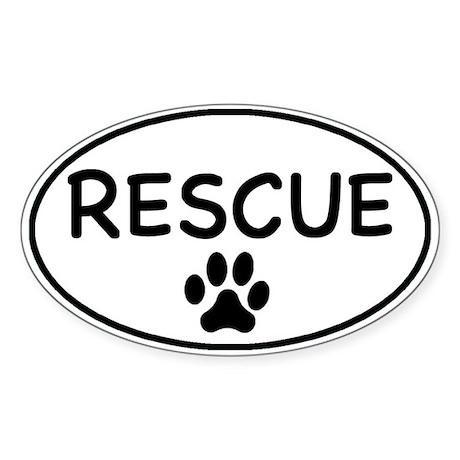Rescue White Oval Oval Sticker
