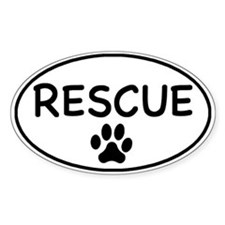 Rescue White Oval Oval Stickers
