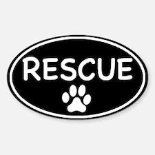 Rescue Black Oval Oval Sticker (50 pk)