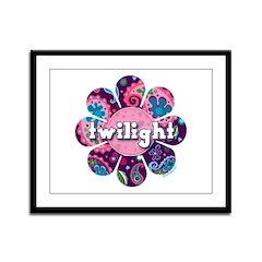 Twilight Retro Paisley Purple Flower Framed Panel