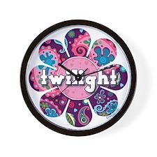 Twilight Retro Paisley Purple Flower Wall Clock