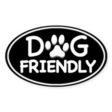 Dog Friendly Black Oval Oval Stickers