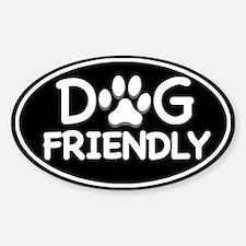 Dog Friendly Black Oval Oval Stickers