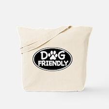 Dog Friendly Black Oval Tote Bag