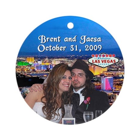 Brent/Jaesa Las Vegas Wedding Ornament (Rnd) by arrivelasvegas