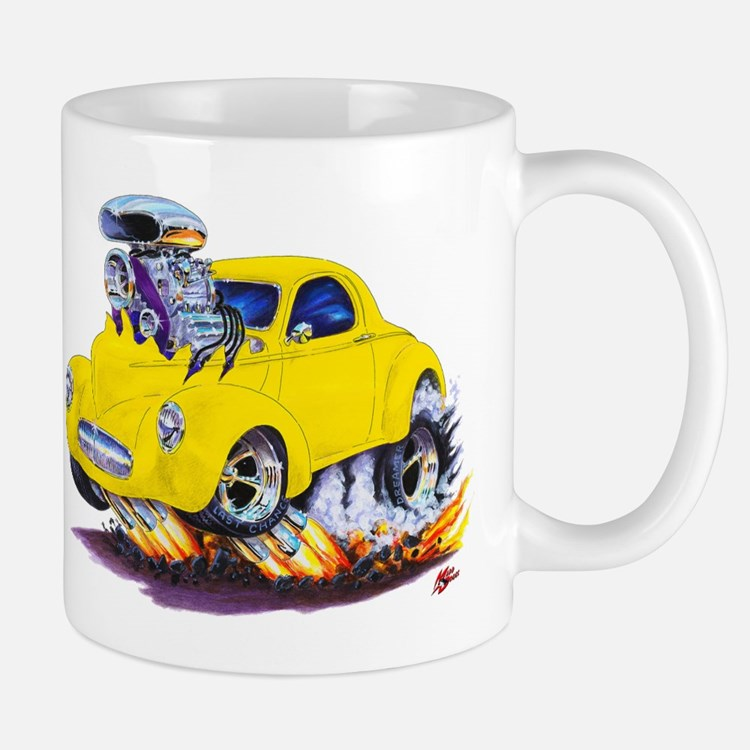 1941 Willys Yellow Car Mug