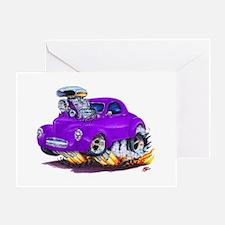 1941 Willys Purple Car Greeting Card