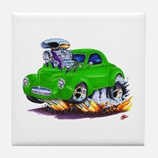 1941 Willys Green Car Tile Coaster